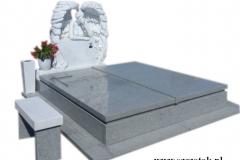 09 Pomnik granitowy z polaczeniem rzezby aniola w skrzydlach z bialego marmuru Thassos wraz z wazonem i lawka, Katowice