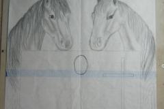15 Szkic koni wykonany na papierze przez rzezbiarza - etap 2