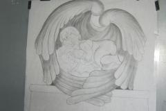 160 Szkic rzezby wykonany na papierze - etap 2