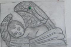 22 Szkic aniołka wykonany prze rzezbiarza na papierze - etap 2