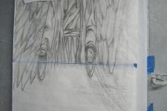 77 Projekt plaskorzezby wraz ze szkicem wykonanym na papierze - etap 1 i 2