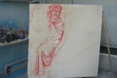 87 Szkic Jezusa naniesiony na blok kamienny - etap 3