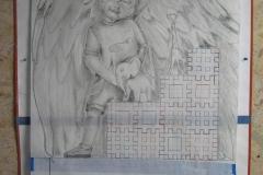 94 Szkic rzezby wykonanyprzez rzezbiarza na papierze - etap 2