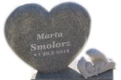 112 Pomniczek dzieciecy - tablica nagrobna granitowa z rzezba aniolka z marmuru, Miedzna
