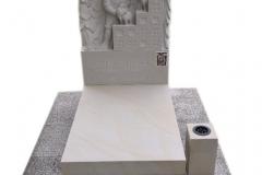 123 Nagrobek nowoczesny dziecięcy z piaskowca wraz z rzezba chlopca, Brzesko