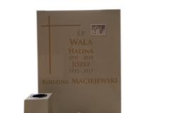 132 Tablica nagrobna - nagrobek nowoczesny bezowy z konglomeratu kwarcowego z wazonem, Pszczyna