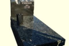 163 Nagrobek nowoczesny granitowy z topionym, szklanym krzyzem, Rybnik