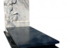 188 Nagrobek nowoczesny z granitu z polaczeniem plaskorzezby slonecznikow z piaskowca, Katowice