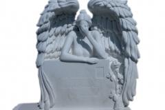 195 Rzezba aniola w skrzydlach z marmuru Thassos - pomniki nowoczesne, Katowice