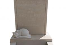275 Nagrobek nowoczesny z piaskowca wraz z rzezba kota z miejscem na rabtake, Starachowice, woj.swietokrzyskie