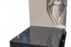 297 Pomniczek nowoczesny, urnowy z ciemnego granitu wraz z plaskorzezba aniola z piaskowca w tablicy nagrobnej, Gliwice