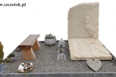 341 Nagrobek nowoczesny urnowy z piaskowca wraz z plaskorzezba drzewa, Chruszczobrod, woj.slaskie
