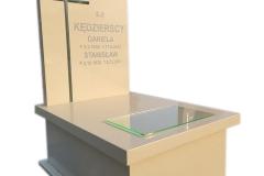452 Nagrobek nowoczesny z bezowego konglomeratu kwarcowego wraz ze szklanym krzyzem w tablicy, Bielsko-Biala