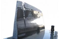 12 Tablica artystyczna nagrobna z krzyzem z topionego szkla - pomnik potrojny, slask