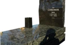 002 Nagrobek pojedynczy granitowy ze szklanym krzyzem, Rybnik, rzezbiarz Janusz Moroń