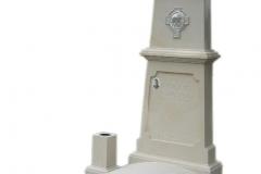 029 Pomnik pojedynczy z piaskowca z Juzusem oraz symbolem wiary, nadziei i milosci, Katowice Panewniki