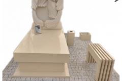 030 Kompleksowy pomnik pojedynczy z kwarcytu wraz z rzezba z piaskowca, Karczew