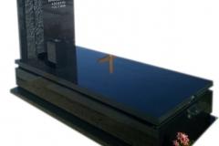 054 Pomnik pojedynczy - czarny z granitu ze szklanym krzyzem, Tychy