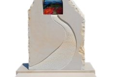 219 Tablica nagrobna z piaskowca z witrazem pod pomnik pojedynczy, Krosnowice
