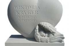 011 Nagrobek dla dziecka, nagrobek z rzezba - rzezba z piaskowca, Warszawa, rzezbiarz Janusz Moroń