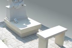 014 Pomnik dla dziecka wykonany z kwarcytu wraz z rzezba z piaskowca, Lodz