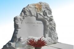 018 Tablica nagrobna z piaskowca z Jezusem - grobowiec z rzezba, Rydultowy, rzezbiarz Janusz Moroń