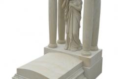 034 Nagrobek nowoczesny urnowy z piaskowca wraz z rzezba Maryji, Chorzow