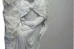 081 Plaskorzezba Jezusa z piaskowca - tablica nagrobna