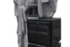195 Nagrobek z pelnoplastyczna rzezba aniola z granitu, Bochnia k.Krakowa