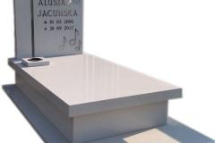 050 Nagrobek dziecięcy bialy z kwarcytu ze szklanym krzyzem,Rybnik