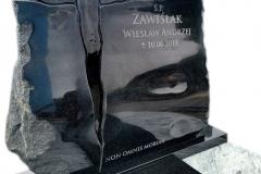 083 Tablica nagrobna wraz ze szklanym krzyzem pod nagrobek granitowy, Tychowo, woj. zachodnio-pomorskie