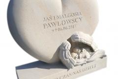 008 rezba z piaskowca - tablica dziecieca w ksztalcie serca z dwoma aniolkami, Warszawa, rzezbiarz Janusz Moroń
