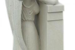 090 Rzezba kobiety, aniola z piaskowca z tablica nagrobna, okolice Rybnik
