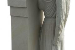 091 Rzezba kobiety, aniola z piaskowca z tablica nagrobna, okolice Rybnik