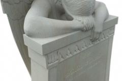 092 Rzezba kobiety, aniola z piaskowca z tablica nagrobna, okolice Rybnik