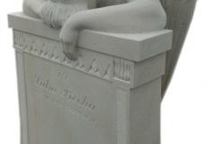 093 Rzezba kobiety, aniola z piaskowca z tablica nagrobna, okolice Rybnik